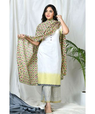 Lotus Block Print Dupatta with Suit Set