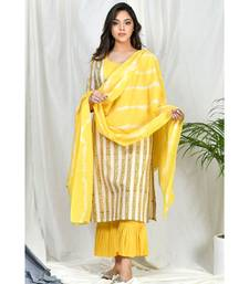 Sana Suit set with Frill pants and Tye Dye dupatta