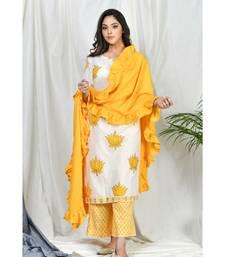 Sabiha Block Print Set with ruffle dupatta