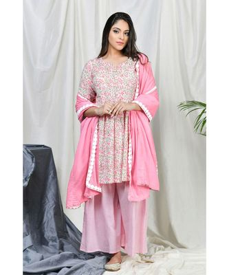 Aleyra Sharara set with Lace dupatta