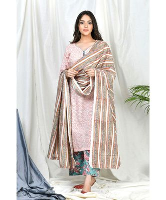 Qasira Suit set with Stripe Block print dupatta