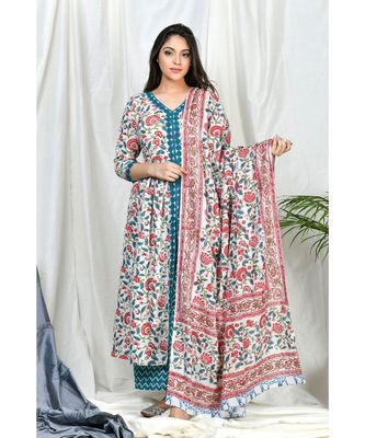 Yasira Coordinate  Set with Teal Block print dupatta