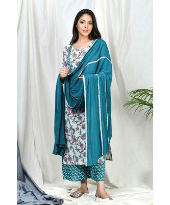Raeesa Suit set with Teal lace dupatta