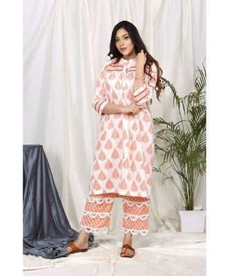 Naznee Orange  Leave Set with Scallop Lace Pants