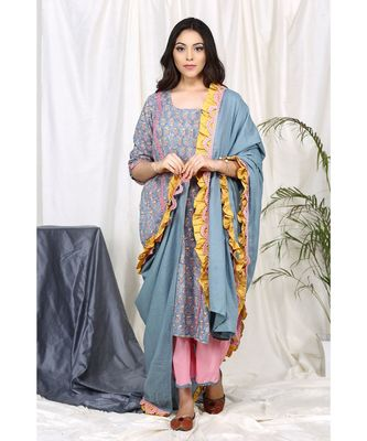 Faeehza Grey Set with Frill Dupatta