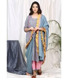 Faeehza Grey Set with Frill Dupatta