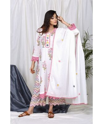 Iffat Block Set with Applique Floral dupatta