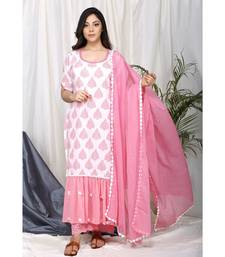 Madiha Frill Set with Eyelet embroidered pants and Dupatta