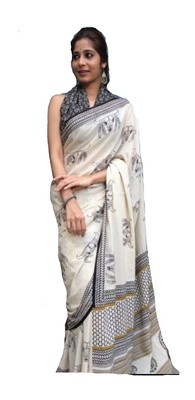 KHAATU BAGRU PRINT COTTON MULMUL SAREE WITH BLOUSE