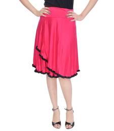 Pink Knee Length Cotton Lycra Flair Skirt