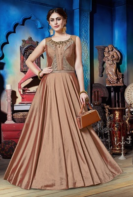 Coral Soft Silk Khatli & Hand Work with Fancy Pattern Floor Length gown