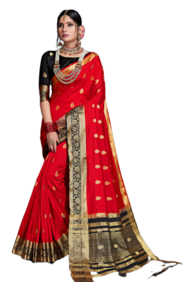 Red Color Nylon Nylon saree with Blouse