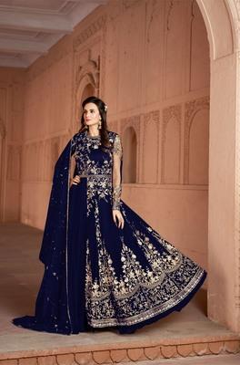 Blue embroidered net salwar