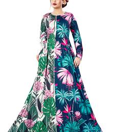 Justkartit Digital Tropical Flower Printed Casual Wear Long Maxi Gowns Dress for Women