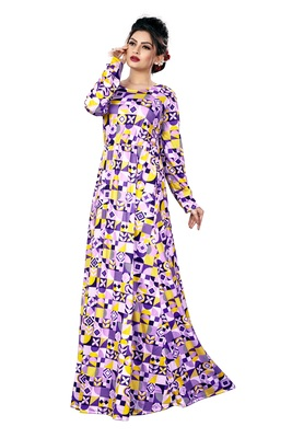 Justkartit Women'S Occasion Wear Long Sleeves Regular Fit Printed Maxi Dress With Pockets