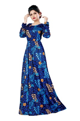 Justkartit Floral Printed Long Organic Lycra Stretchable Festive Wear Maxi Gowns Dress For Women