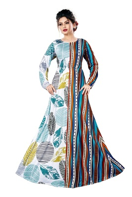 Justkartit Ladies Leaf Printed Jersey Stretchable Party Wear Long Maxi Gown Tops