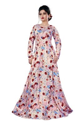 Justkartit Ladies Floral Printed Beach Wear Jersey Stretchable Long Maxi Gown Tops