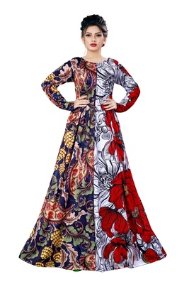 Justkartit Party Wear Long Plus Size Printed Maxi Gown Dresses for Women