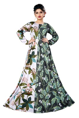 Justkartit Digital Leaf Floral Printed Long Maxi Gowns Dress For Women