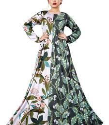 Justkartit Digital Leaf Floral Printed Long Maxi Gowns Dress for Women