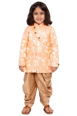 Gold Plain Cotton Silk Boys Sherwani