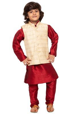 Maroon woven cotton silk boys-kurta-pyjama