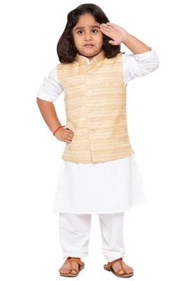 White woven cotton silk boys-kurta-pyjama
