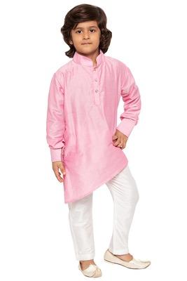 Pink plain cotton boys-kurta-pyjama