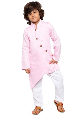 Pink plain cotton silk boys-kurta-pyjama