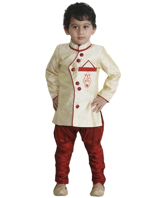 Beige plain cotton silk boys-sherwani