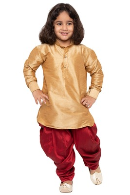 Gold plain cotton silk boys-dhoti-kurta