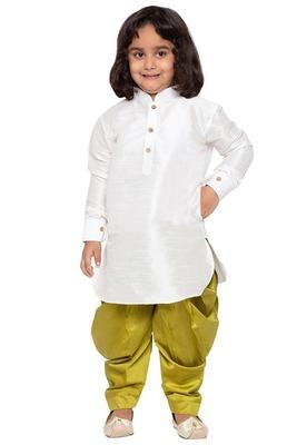 White Plain Cotton Silk Boys-Dhoti-Kurta