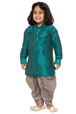 Green Plain Cotton Silk Boys Dhoti Kurta