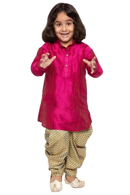 Pink Plain Cotton Silk Boys-Dhoti-Kurta