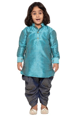 Blue plain cotton silk boys-dhoti-kurta