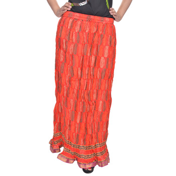 Red Jaipuri Printed Cotton Long Skirt