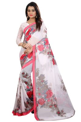 White Georgette Printed saree With Blouse