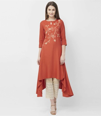 Orange embroidered rayon kurtas-and-kurtis