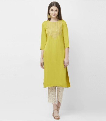 Lime embroidered satin kurtas-and-kurtis