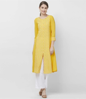 Yellow embroidered viscose kurtas-and-kurtis