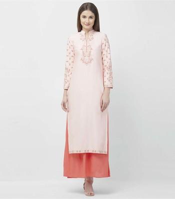 Pink embroidered rayon kurtas-and-kurtis