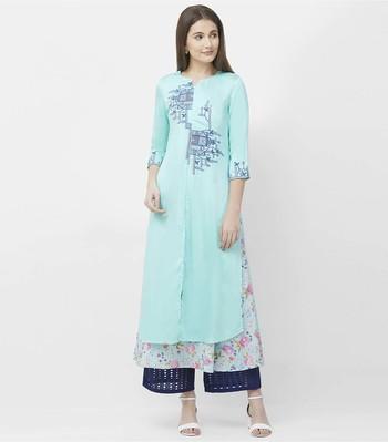 Blue embroidered satin kurtas-and-kurtis