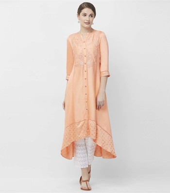 Peach embroidered satin kurtas-and-kurtis