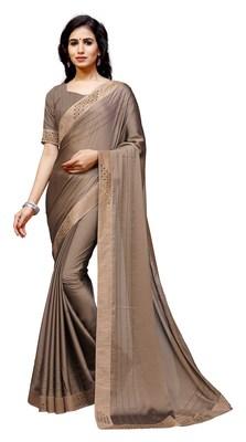 Coffee plain satin saree with blouse