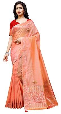 Orange woven net saree with blouse