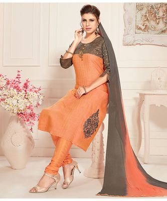 orange embroidered Raw Silk readymade suits
