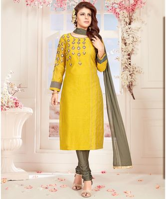 yellow embroidered Chanderi readymade suits