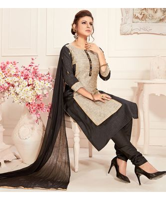 grey embroidered silk blend readymade suits