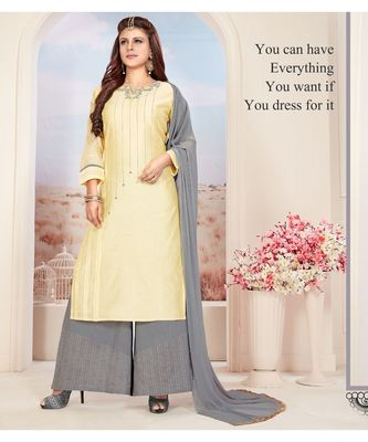 cream embroidered Chanderi readymade suits
